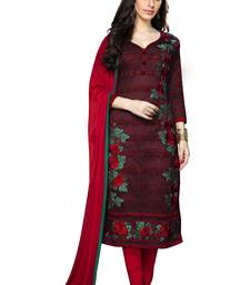 Buy Maroon cotton embroidered straight suit dress material women-ethnic-wear online