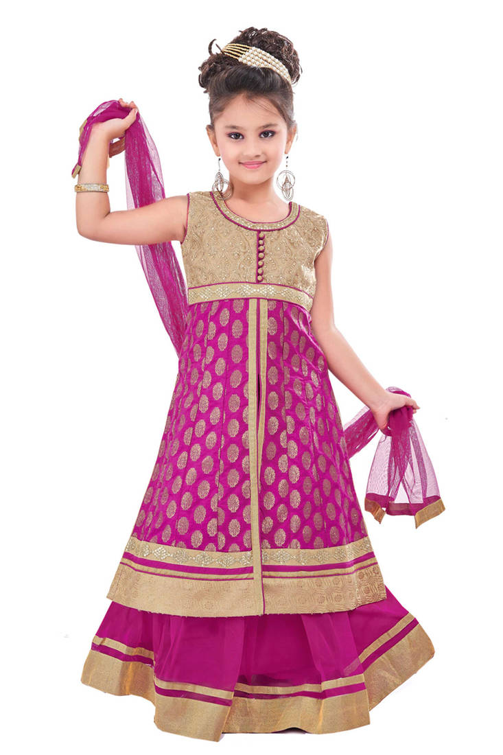 Buy Purple Embroidery And Print Dupion With Netted Fabric Mastani Dress Kids Girls Online