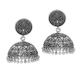 Antique Oxidised Mayura Design Silver Tone Brass Jhumka Earrings