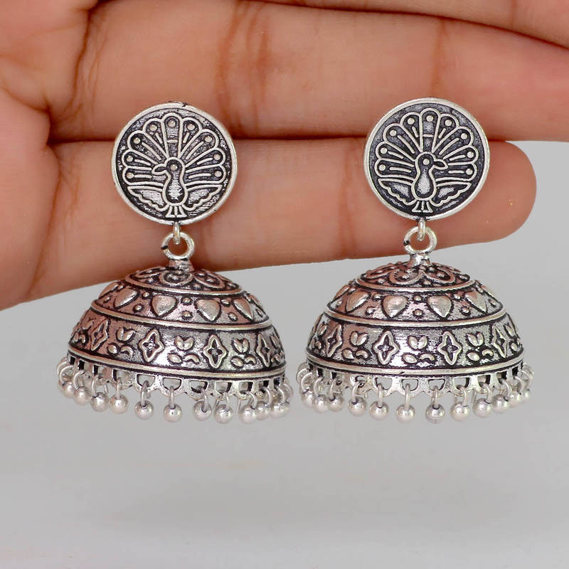 Buy Antique Oxidised Mayura Design Silver Tone Brass Jhumka Earrings