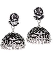 Buy Splendid Flower Design Silver Oxidised Metal Jhumki Earring for Women And Girls danglers-drop online