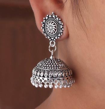 Splendid Flower Design Silver Oxidised Metal Jhumki Earring for Women And Girls