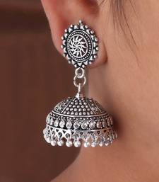 Splendid Flower Design Silver Oxidised Metal Jhumki Earring For Women And Girls