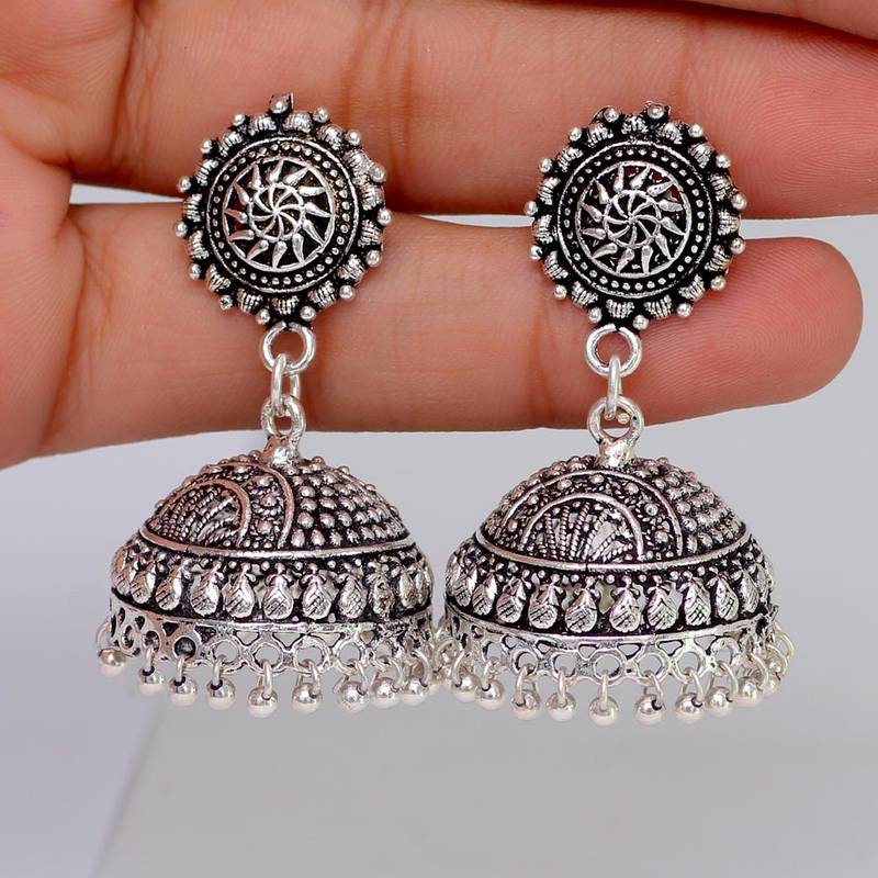 Buy Splendid Flower Design Silver Oxidised Metal Jhumki Earring For