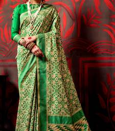 Buy green hand woven cotton poly saree with blouse cotton-saree online