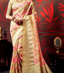 Buy beige brasso cotton poly saree with blouse cotton-saree online