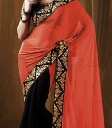 Buy Holly Festival Orange & Black embroidered georgette saree with blouse party-wear-saree online