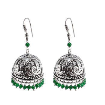Seductive 24.8 Grams Handmade Alloy Oxidized 3 Mm Green Quartz Jaipur Jhumki Jewellery