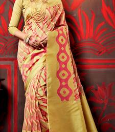 Buy gold brasso cotton poly saree with blouse cotton-saree online
