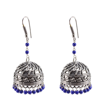 Reconstituted Lapis Layer Big Jhumkaoxidized Jhumki Handcrafted Earrings