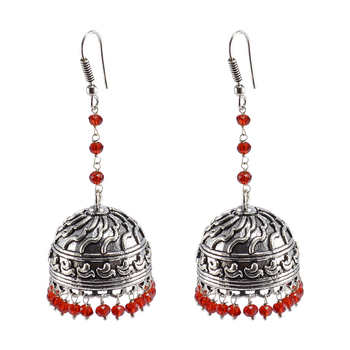 Ethnic Indian Temple Antique Oxidized Red Crystal Beads Earrings With Silver Plated Bollywood Jhumki For Women