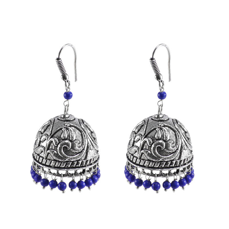 Kanjivaram Beads: Indian Earrings Jhumka With Hanging Reconstituted Lapis
