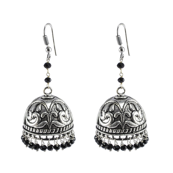 Ethnic Indian Temple Antique Oxidized Black Crystal Beads Earrings With Silver Plated Bollywood Jhumki For Women