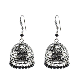 Jaipur Traditional Oxidized Silver Gift Drop Handmde Earring Silver Jhumkas With Black Crystal Beads