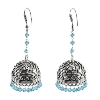 Oxidized Drop Antique Silver Overlay Blue Topaz Crystal Jhumka Earringsjaipur Fashion Jewelry