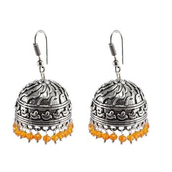 Seductive 25 Grams Handmade Alloy Oxidized 3 mm Orange Crystals Jaipur Jhumki Jewellery