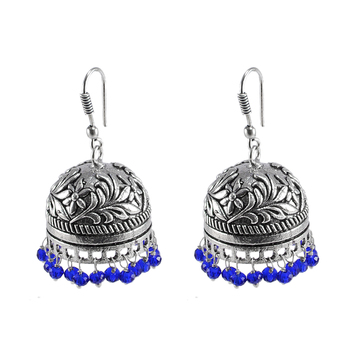 Antique Oxidized Finish Traditional Style Jhumkablue Crystal Beads Jaipur Jewellery
