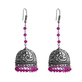 Ethnic Oxidized Jewellerydanglers With Pink Crystal Beads Large Jhumka Earrings