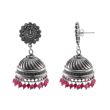 Ganesha Post Studs And Pink Beads Jhumkitribal Chandelier Earrings Jewellry