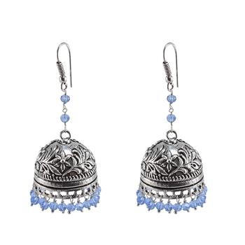 Oxidized Jhumki Tanzanite Crystal Beads Jaipur Jewellerydome Shaped Gypsy Earrings