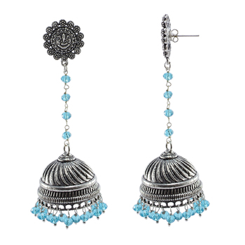 Traditional Symbolic Jewellery22.3 Gram BlueTopaz Crystal Oxidized Handmade Ganesha Jhumki Earrings