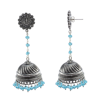 Blue Topaz Crystal Beads With Ganesha Studs Jhumkaoxidized Jhumki Handcrafted Earrings