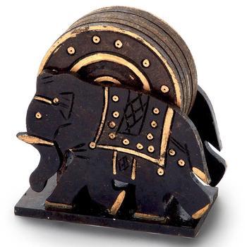 Elephant design wooden tea coaster handicraft