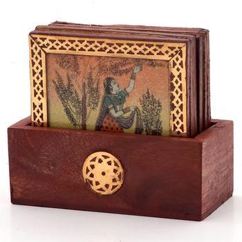 Gemstone painting pure brass tea coasters gift