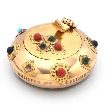Pure brass gemstone ash tray handicraft gift
