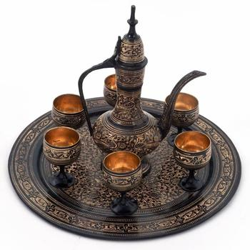 Antique royal wine set black metal handicraft