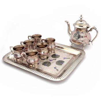Pure white metal meenakari work royal tea set