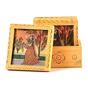Unique gemstone painted square tea coaster set