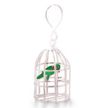 Decorative silver polished green parrot n cage