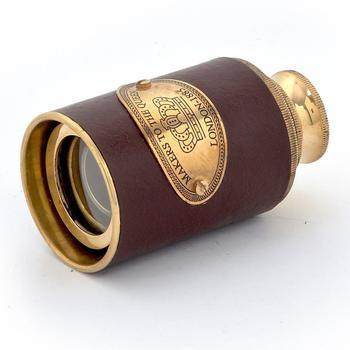 Antique real usable telescope in brass and lea