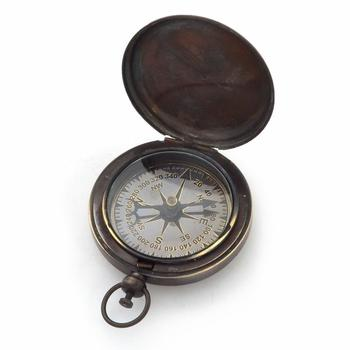 Pushbutton anchor style black nautical compass
