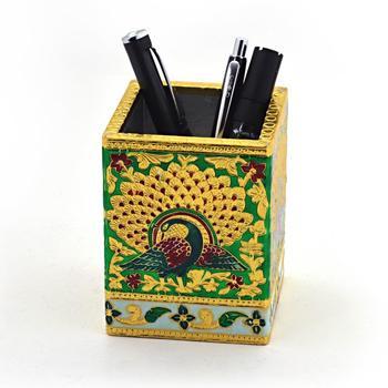 Oxidized jaipuri fine meenakari work pen stand