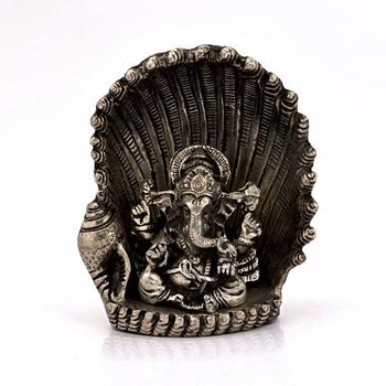 White metal antique lord ganesha on naag idol