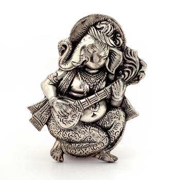 Oxidized white metal lord ganesha sitar idol