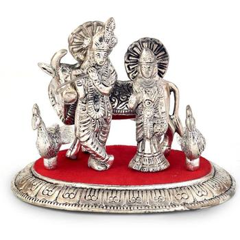 White metal lord radha krishna idol with cow