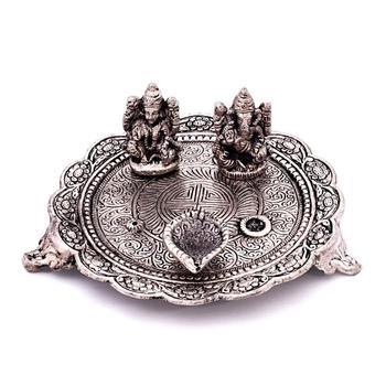 White metal lord laxmi ganesh with dia thali