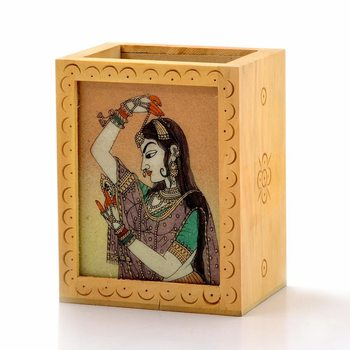 Gemstone painted handcrafted wooden pen stand
