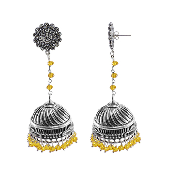 Alluring Ethnic Jewellery 28.8 Grams Citrine Crystal Alloy Oxidized Designer Jhumki Ganesha Earrings