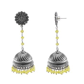 Eternity Wear Silver Polished Jhumka Earring With lemon Crystal Beads Ganesha Studs Jhumki