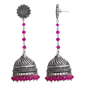 Pink Crystal Beads Traditional Ganesha Jhumka Earrings With Oxidized Finish