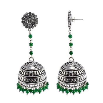 Oxidized Metal Green Quartz Ganesha Jhumki Earringstribal Jewellery