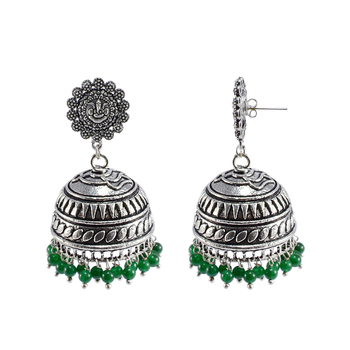 Jaipuri Jhumkiethnic Jewellryganesha Jhumka Earrings With Green Beads