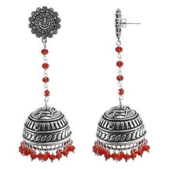 Large Statement Jhumkatribal Earringsred Crystal Beads And Ganesha Jhumkitribal Jewellery