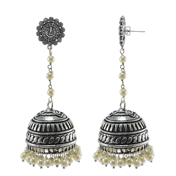 Royal Tradional Jewellerypearl And Yoga Ganesha Jhumki Earrings With Oxidized Finish