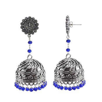 Rajasthani Tribal Jewelry3 Mm Blue Crystal Hanging Ganesha Studs Jhumki Earrings