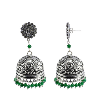 Oxidized Handmade Green 3 Mm Ganesha Jhumki Earringsjaipuri Jewellry